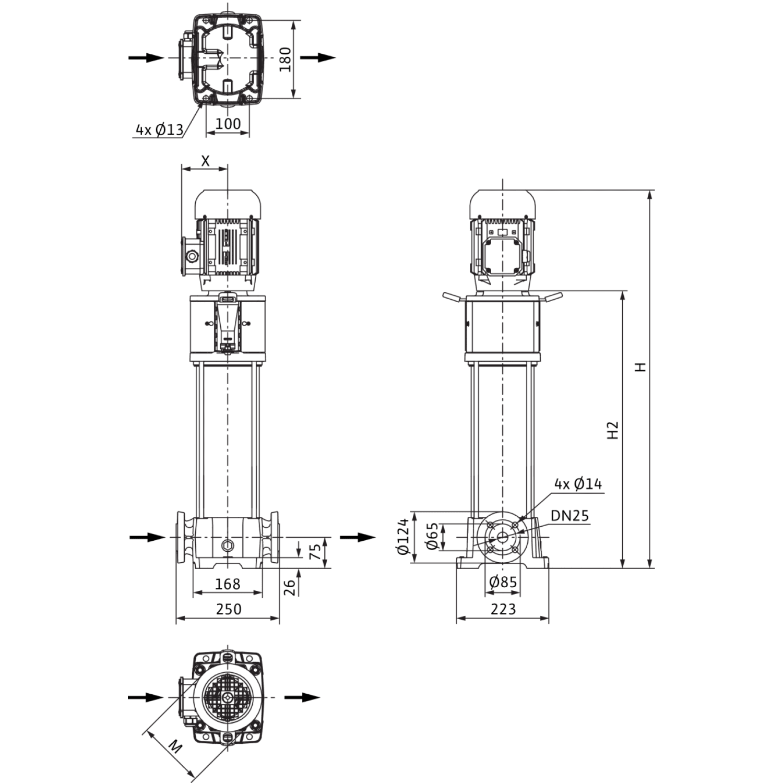 Вертикальный многоступенчатый насос Wilo Helix FIRST V 222-5/25/E/KS/