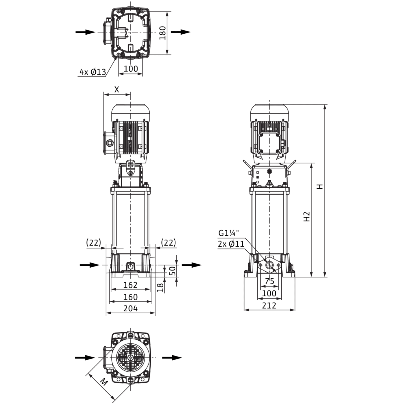Вертикальный многоступенчатый насос Wilo Helix FIRST V 604-5/16/E/S/