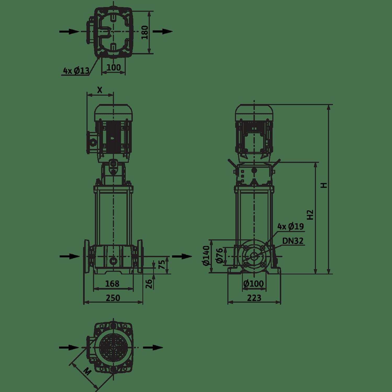 Вертикальный многоступенчатый насос Wilo Helix FIRST V 604-5/25/E/S/