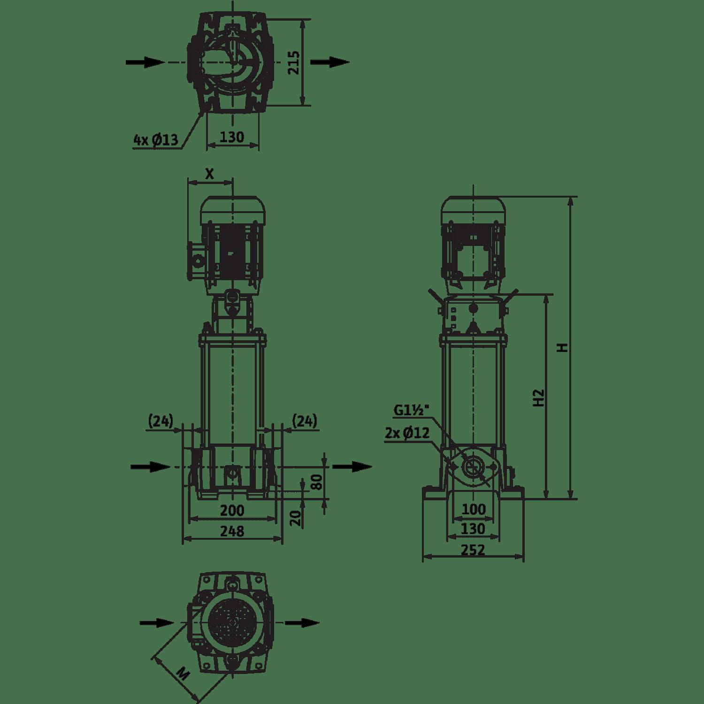 Вертикальный многоступенчатый насос Wilo Helix FIRST V 1012-5/16/E/S/