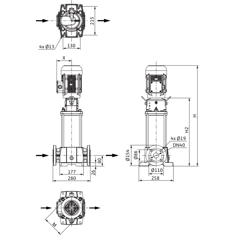 Вертикальный многоступенчатый насос Wilo Helix FIRST V 1009-5/25/E/S/