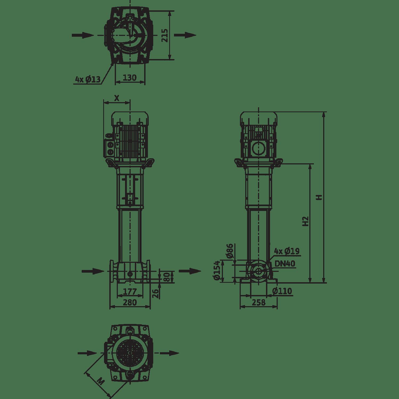 Вертикальный многоступенчатый насос Wilo Helix FIRST V 1015-5/25/E/KS/