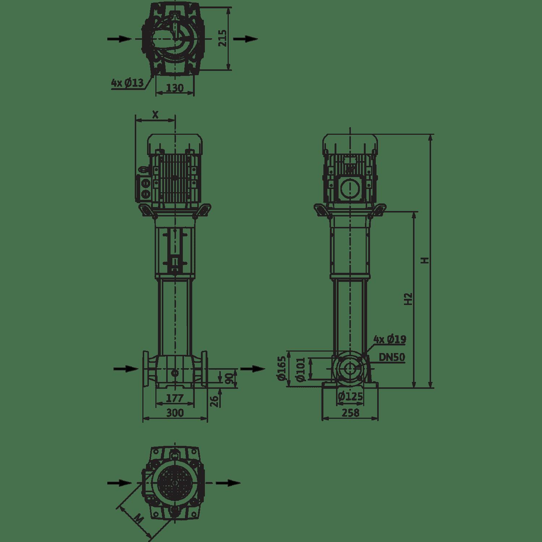 Вертикальный многоступенчатый насос Wilo Helix FIRST V 1613-5/25/E/KS/