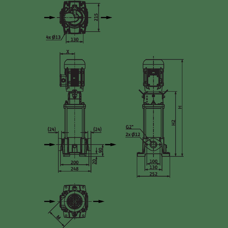 Вертикальный многоступенчатый насос Wilo Helix FIRST V 1608-5/16/E/S/