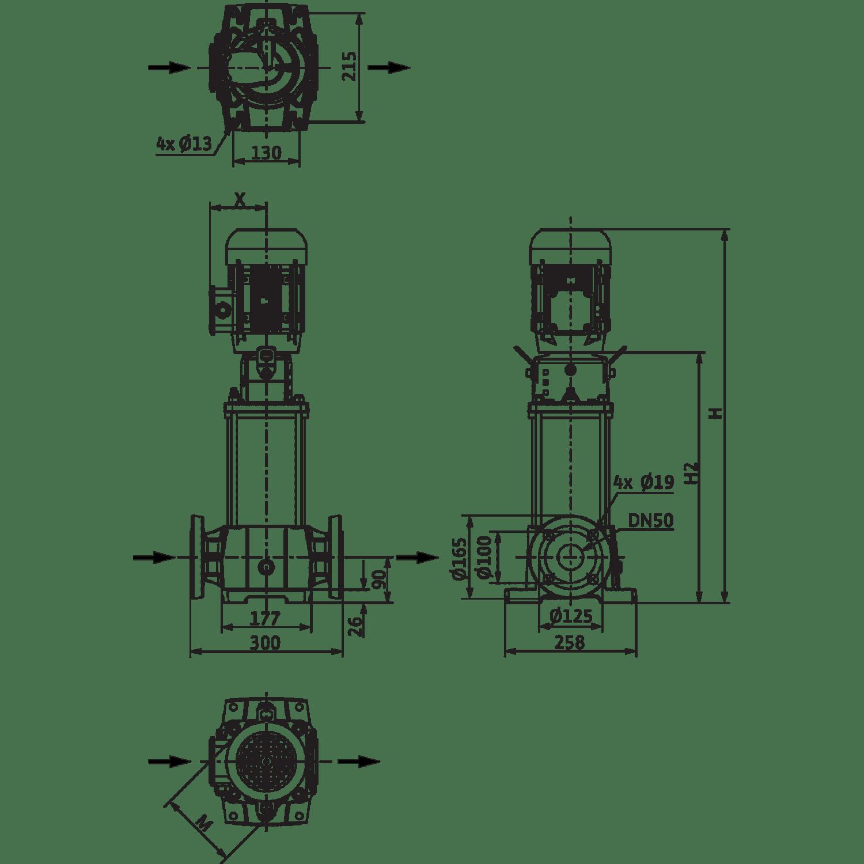 Вертикальный многоступенчатый насос Wilo Helix FIRST V 1602-5/25/E/S/
