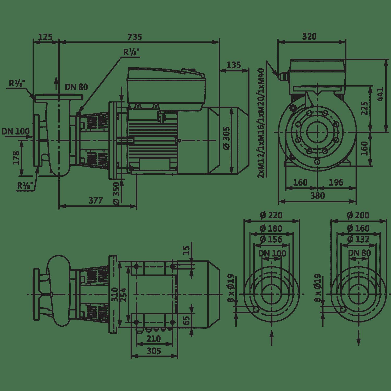 Блочный насос Wilo CronoBloc-BL-E 80/150-15/2-R1