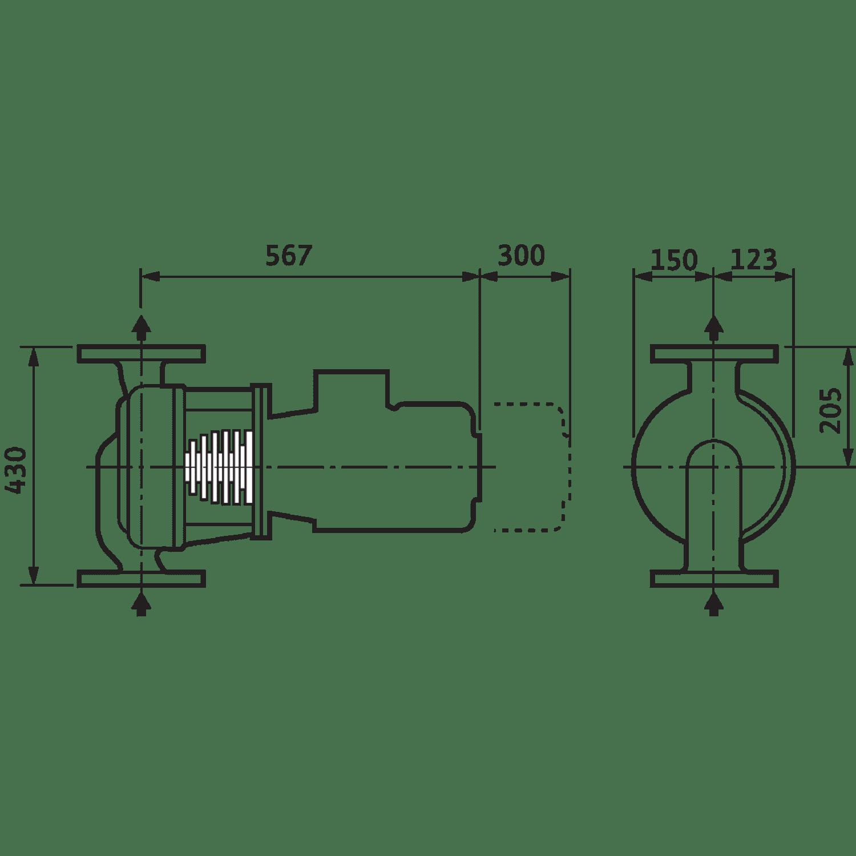 Циркуляционный насос с сухим ротором в исполнении Inline Wilo VeroLine-IPH-O 80/140-4/2