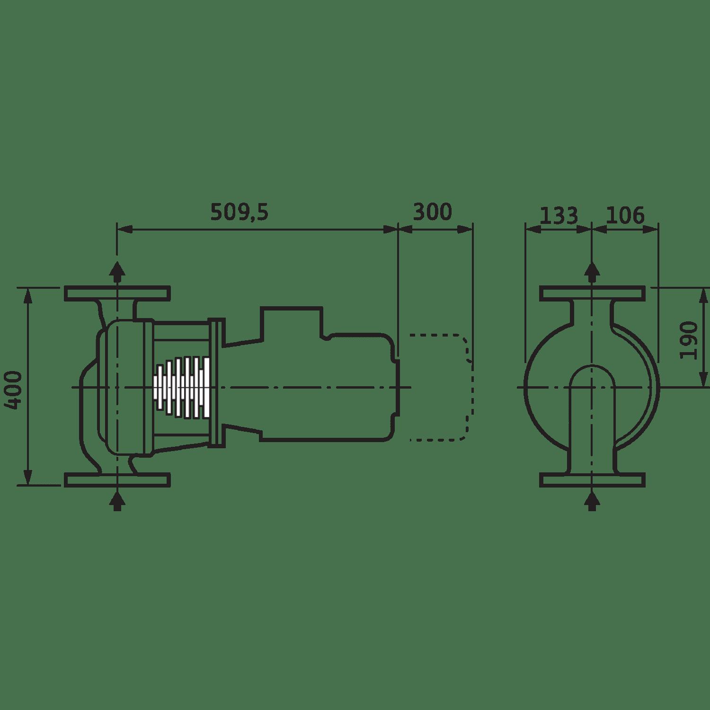 Циркуляционный насос с сухим ротором в исполнении Inline Wilo VeroLine-IPH-O 80/110-2,2/2