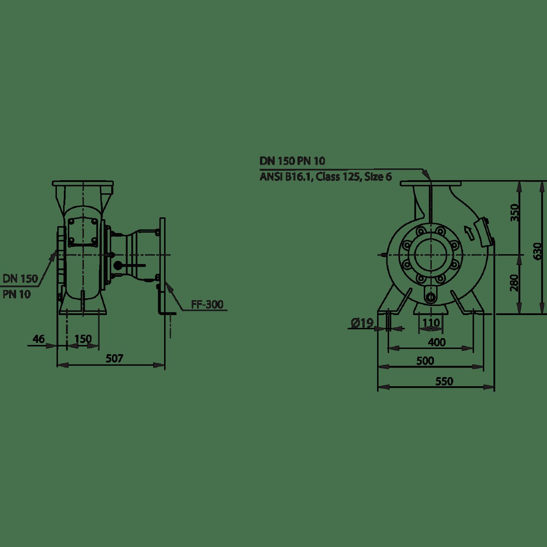 Насос для отвода сточных вод блочной конструкции со встроенным стандартным электродвигателем фекальный насос Wilo RexaBloc RE 15.84D-210DAH160M4