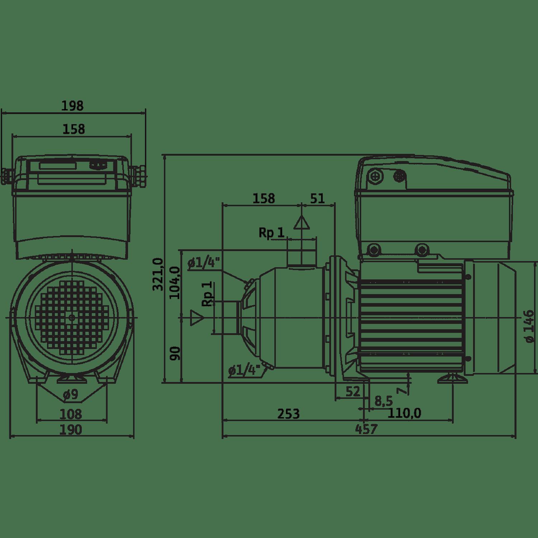 Центробежный насос Wilo Economy MHIE 205N-2G (3~380/400/440 V, FKM)
