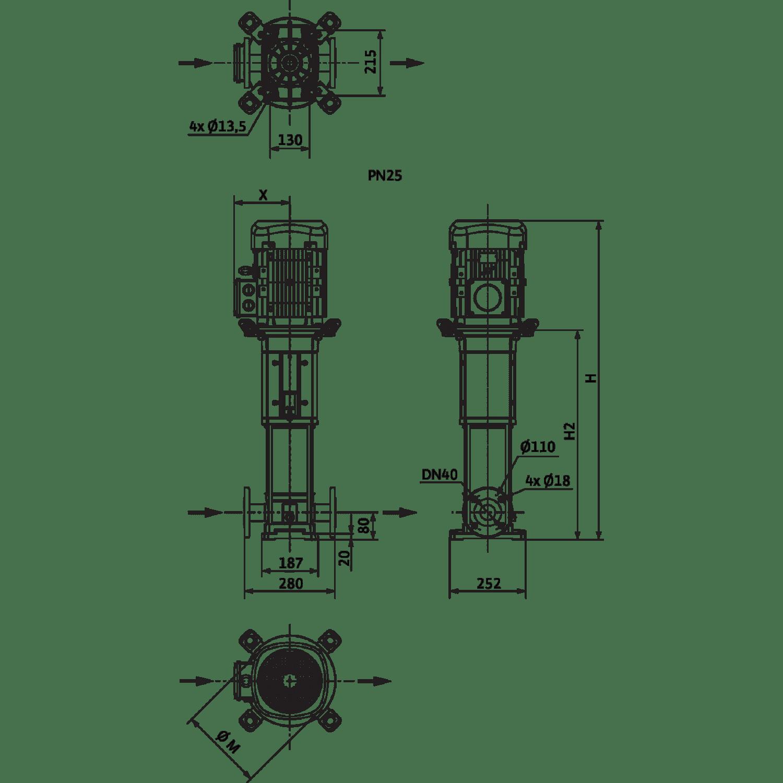 Вертикальный многоступенчатый насос Wilo Helix V 1001-2/25/V
