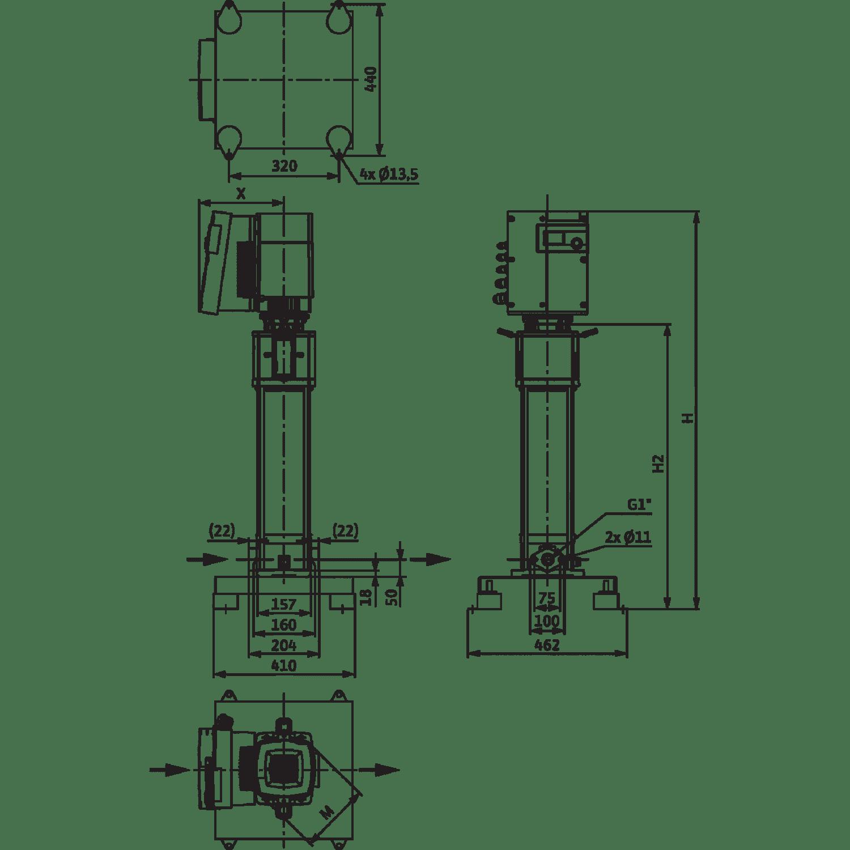 Вертикальный многоступенчатый насос Wilo Helix EXCEL 414-1/16/E/KS
