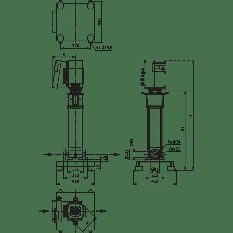 Вертикальный многоступенчатый насос Wilo Helix EXCEL 418-2/25/V/KS