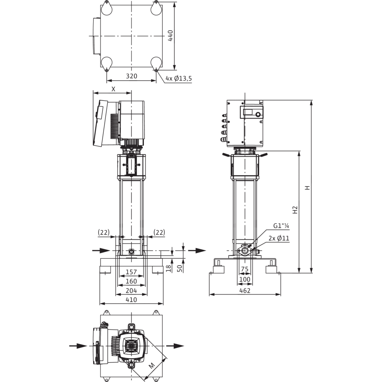 Вертикальный многоступенчатый насос Wilo Helix EXCEL 606-1/16/E/KS