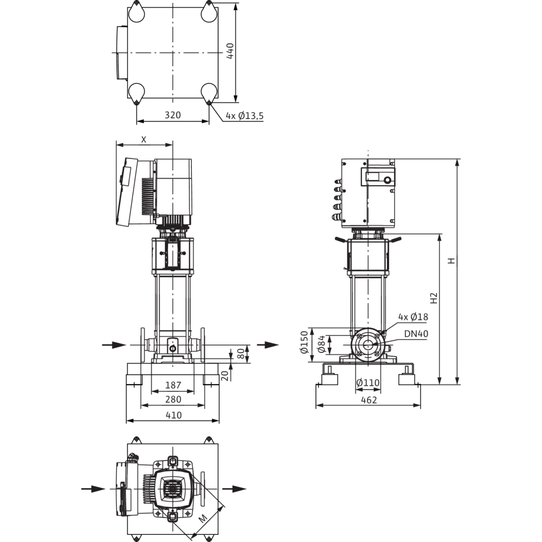 Вертикальный многоступенчатый насос Wilo Helix EXCEL 1004-2/25/V/KS