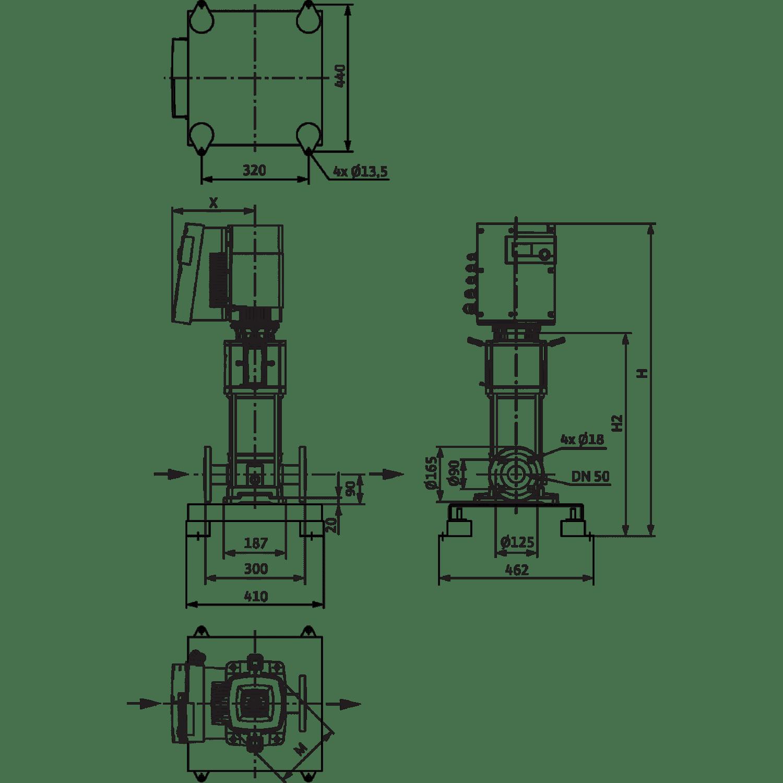 Вертикальный многоступенчатый насос Wilo Helix EXCEL 1606-1/25/E/KS