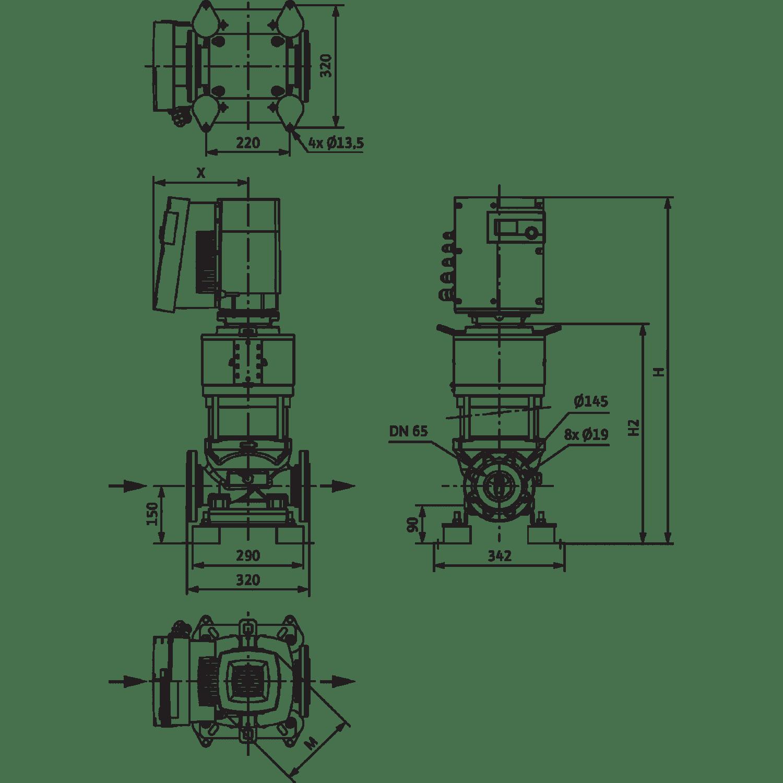 Вертикальный многоступенчатый насос Wilo Helix EXCEL 3602-7.5-2/25/V/KS