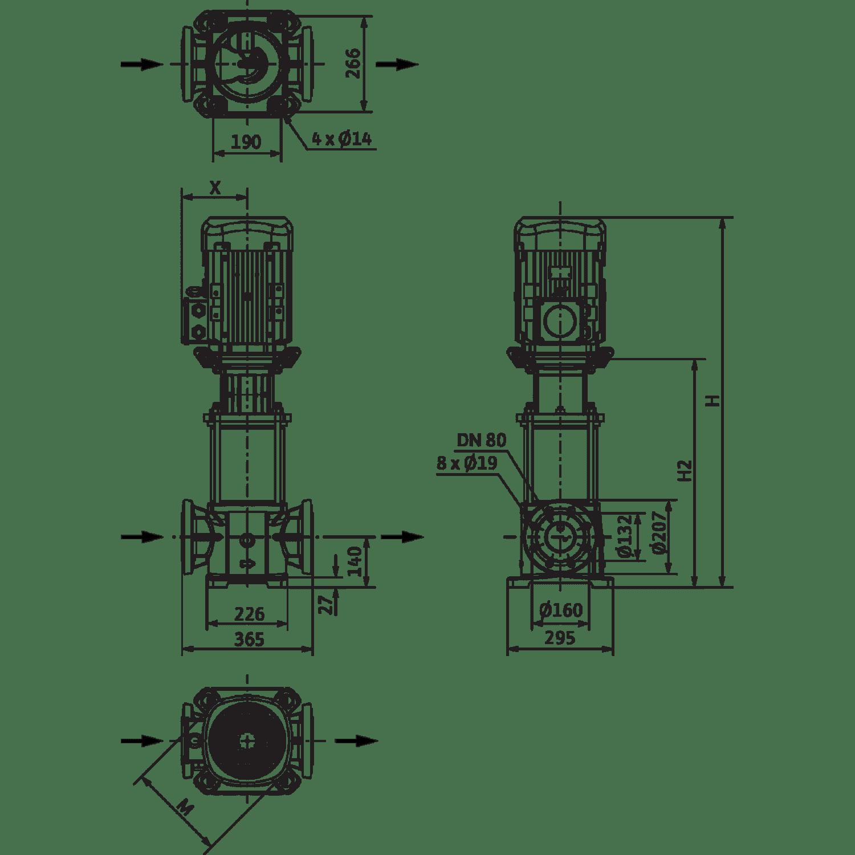 Вертикальный многоступенчатый насос Wilo Helix FIRST V 5204/2-5/25/E/KS/