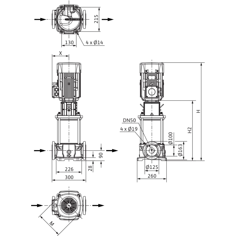 Вертикальный многоступенчатый насос Wilo Helix FIRST V 2216-5/30/E/KS/