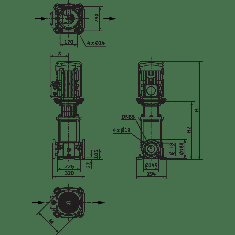Вертикальный многоступенчатый насос Wilo Helix FIRST V 3609-5/25/E/KS/