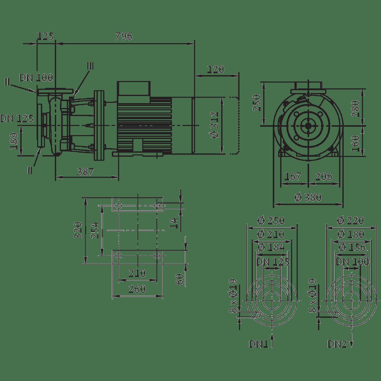 Блочный насос Wilo CronoBloc-BL 100/145-15/2
