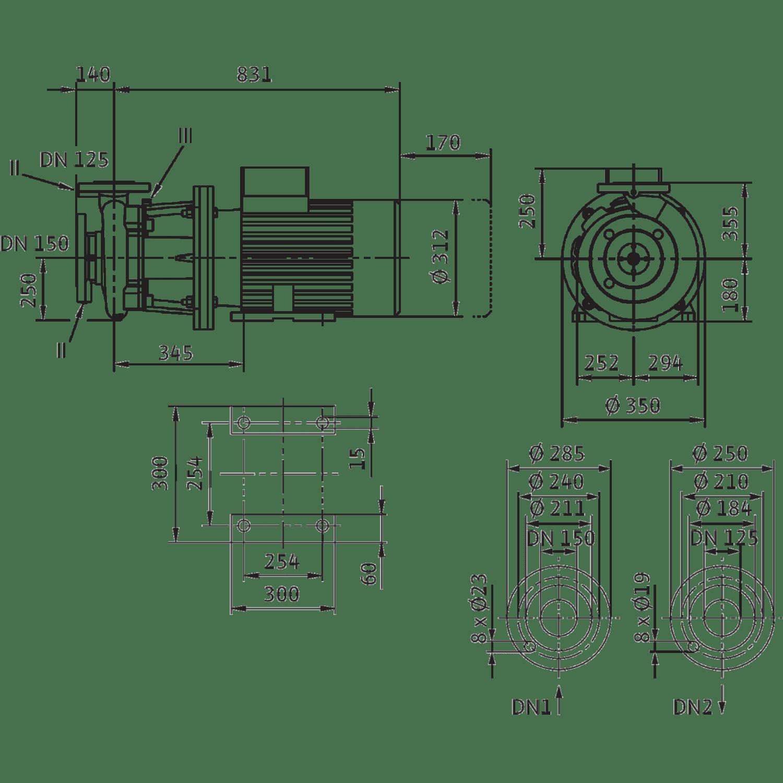 Блочный насос Wilo CronoBloc-BL 125/245-15/4