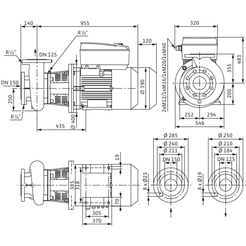 Блочный насос Wilo CronoBloc-BL-E 125/265-18,5/4