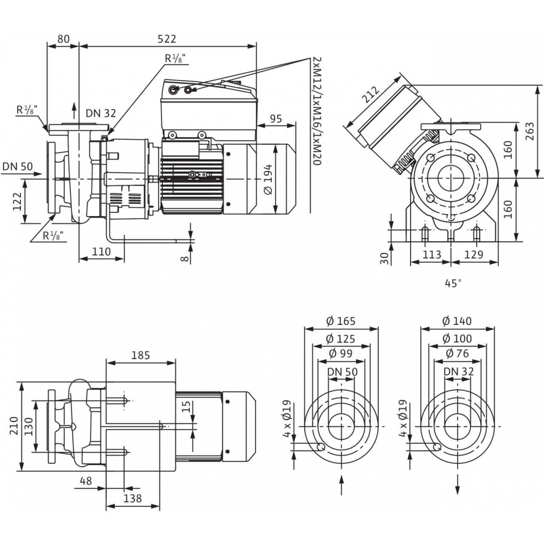 Блочный насос Wilo CronoBloc-BL-E 32/150-3/2