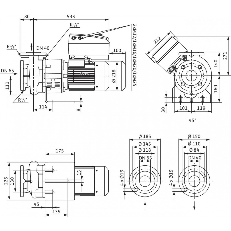 Блочный насос Wilo CronoBloc-BL-E 40/140-4/2