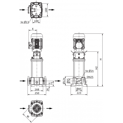 Вертикальный многоступенчатый насос Wilo Helix FIRST V 212-5/25/E/S/