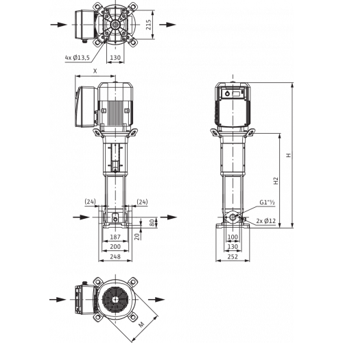 Вертикальный многоступенчатый насос Wilo Helix VE 1004-1/16/E/S