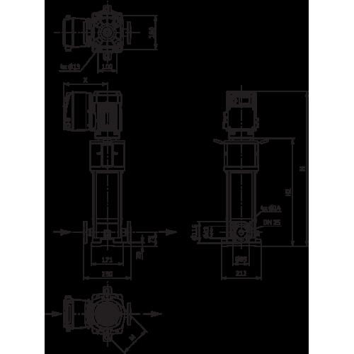 Вертикальный многоступенчатый насос Wilo Helix VE 413-2/25/V/KS