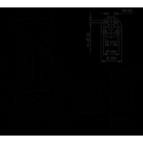 Циркуляционный насос с сухим ротором в исполнении Inline с фланцевым соединением Wilo VeroLine-IPL 80/120-4/2