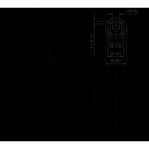 Циркуляционный насос с сухим ротором в исполнении Inline с фланцевым соединением Wilo VeroLine-IPL 80/145-5,5/2