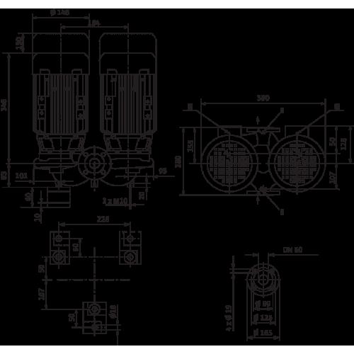 Циркуляционный насос с сухим ротором в исполнении Inline с фланцевым соединением Wilo VeroTwin-DPL 50/105-0,75/2