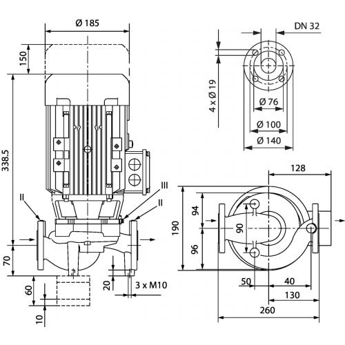 Циркуляционный насос с сухим ротором в исполнении Inline с фланцевым соединением Wilo VeroLine-IPL 32/135-1,1/2