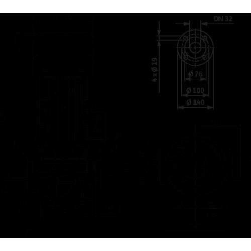 Циркуляционный насос с сухим ротором в исполнении Inline с фланцевым соединением Wilo VeroLine-IPL 32/135-1,5/2