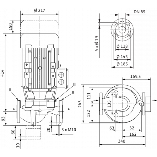 Циркуляционный насос с сухим ротором в исполнении Inline с фланцевым соединением Wilo VeroLine-IPL 65/120-3/2