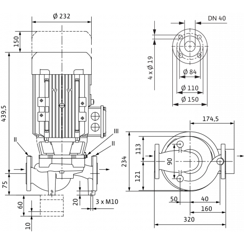 Циркуляционный насос с сухим ротором в исполнении Inline с фланцевым соединением Wilo VeroLine-IPL 40/160-4/2