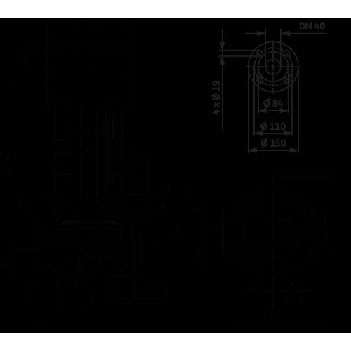 Циркуляционный насос с сухим ротором в исполнении Inline Wilo VeroLine-IPL 40/120-1,5/2