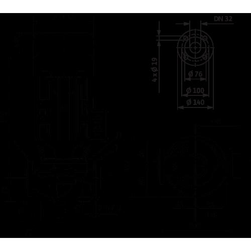 Циркуляционный насос с сухим ротором в исполнении Inline с фланцевым соединением Wilo VeroLine-IPL 32/85-0,37/2