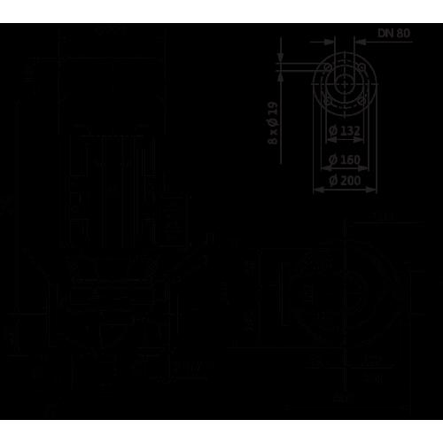 Циркуляционный насос с сухим ротором в исполнении Inline с фланцевым соединением Wilo VeroLine-IPL 80/155-7,5/2