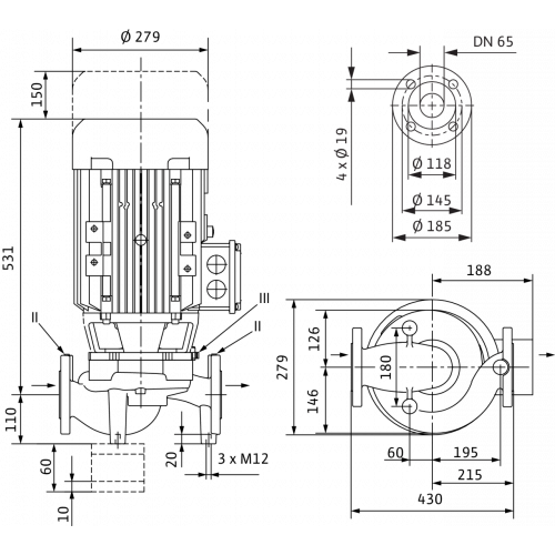 Циркуляционный насос с сухим ротором в исполнении Inline с фланцевым соединением Wilo VeroLine-IPL 65/175-7,5/2