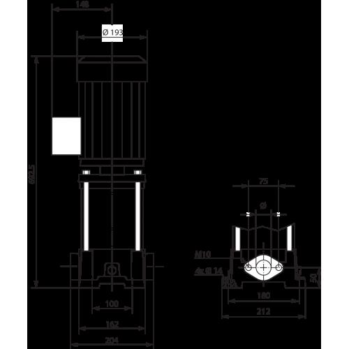 Вертикальный многоступенчатый насос  Wilo MVIL 312-16/E/3-400-50-2/IE3