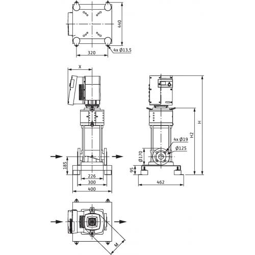 Вертикальный многоступенчатый насос Wilo Helix EXCEL 2204-1/16/E/KS