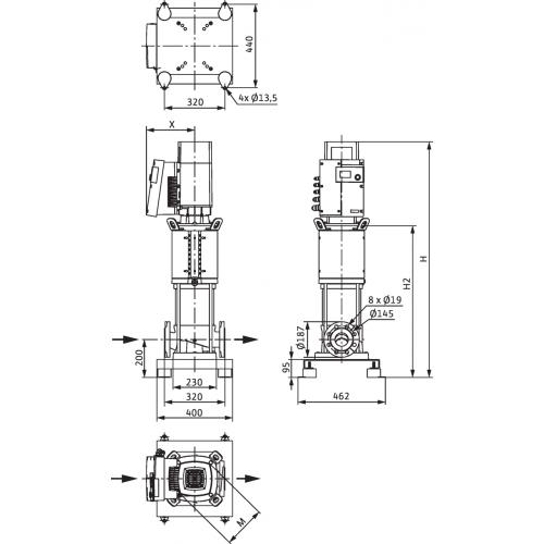 Вертикальный многоступенчатый насос Wilo Helix EXCEL 3602/2-1/16/E/KS