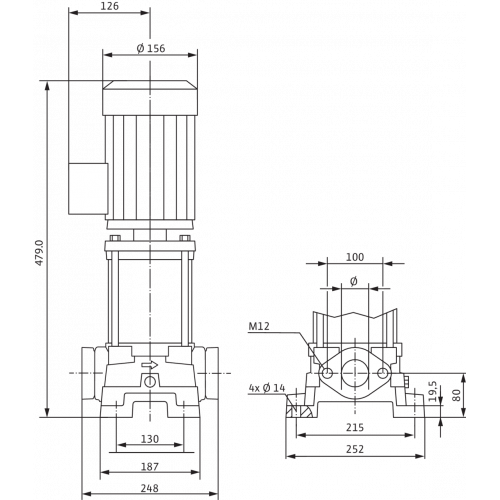Вертикальный многоступенчатый насос  Wilo MVIL 902-16/E/3-400-50-2/IE3