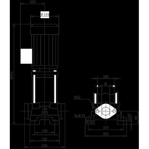 Вертикальный многоступенчатый насос  Wilo MVIL 907-16/E/3-400-50-2