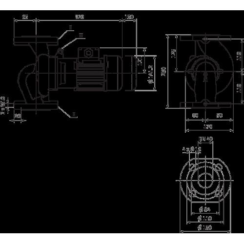 Циркуляционный насос с сухим ротором в исполнении Inline с фланцевым соединением Wilo VeroLine-IPL 40/115-0,55/2