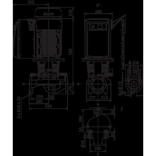 Циркуляционный насос с сухим ротором в исполнении Inline с фланцевым соединением Wilo CronoLine-IL-E 125/220-7,5/4-R1